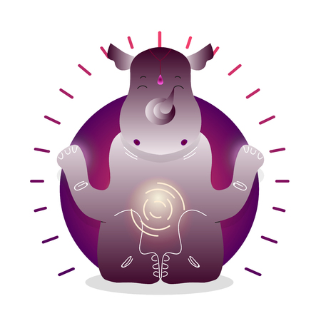 Vector funny cute Rhinoceros sitting in yoga lotus pose and relaxing meditates. Adorable cartoon animal illustration. Art for design posters, t-shirts, invitations