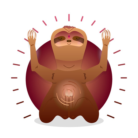 Vector funny cute Sloth sitting in yoga lotus pose and relaxing meditates. Adorable cartoon animal illustration. Art for design posters, t-shirts, invitations Illusztráció