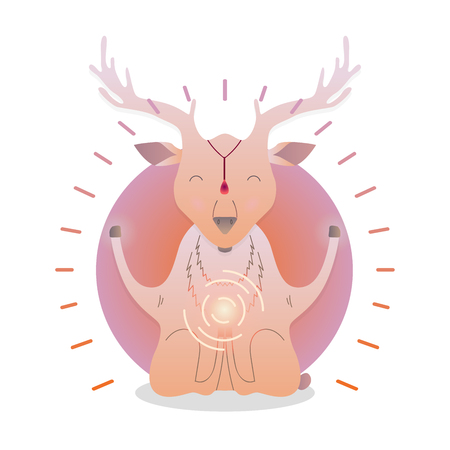 Vector funny cute Deer sitting in yoga lotus pose and relaxing meditates. Adorable cartoon animal illustration. Art for design posters, t-shirts, invitations