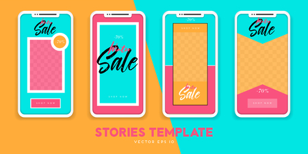 Set of minimalistic stories for Internet. Pack for creature your unique content. Modern geometric template