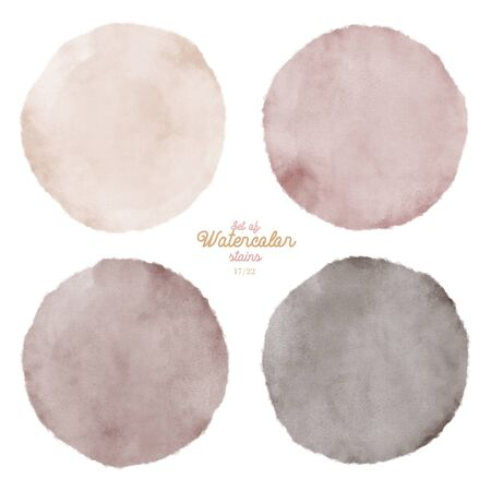 Set of color watercolor stains. Round paint set. Circle colorful grunge paint illustration for decoration autumn banners, posters, websites, lists, landing pages etc