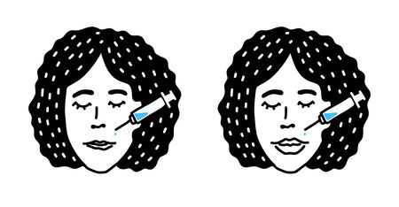 Modern vector illustration of lips injections. Lip augmentation. Hyaluronic Acid injections