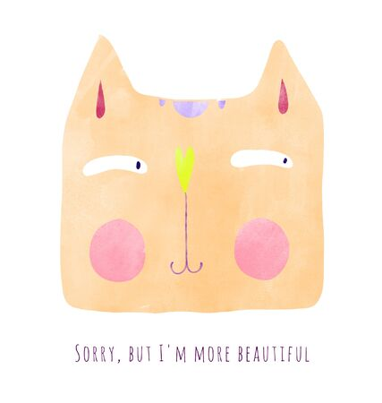 Hand drawn cute colorful watercolor cat with typography lettering funny negative phrase. Handwritten quote card. Contrast concept between the phrase and the picture