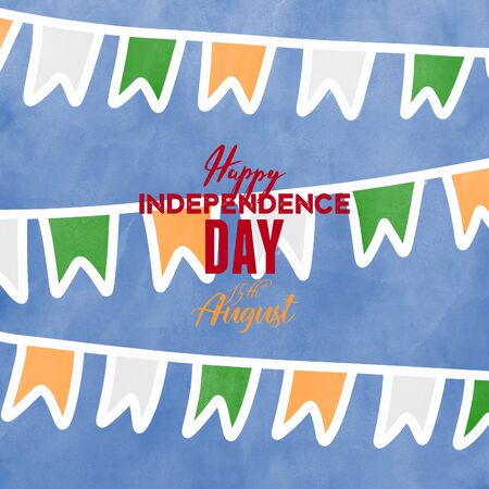 Independence day of India with flags. 15th of august.