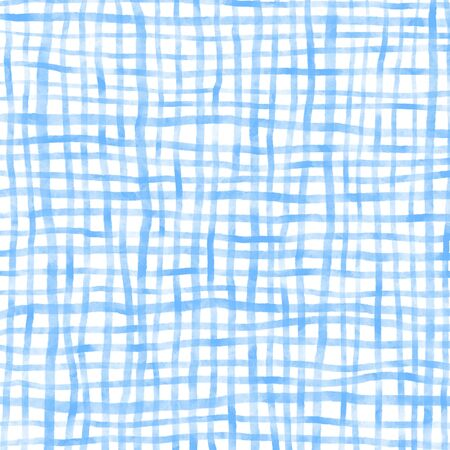 Watercolor Dyed Checked Background. Blue pattern