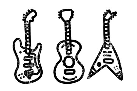 Vintage styled guitar template. Music icon or logo for audio store branding and identity.
