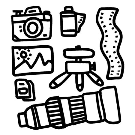 Photography equipment flat cartoon icons. Digital or film camera, accessories, memory card, tripod lens. Vector illustration, signs for photo studio or store.