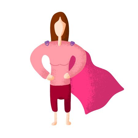 Superhero or supergirl. Beautiful smiling blonde child wearing bodysuit and mask with super powers. Brave and confident comic or fantastic character. Colored vector illustration in flat cartoon style
