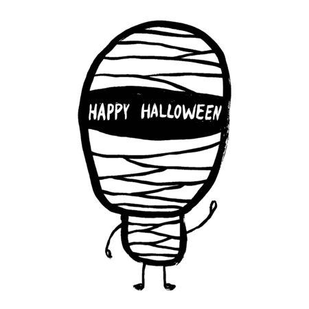 Doodle vector cartoon mummy, halloween celebration, character design.