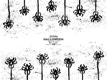 Vector grunge hand-drawn isolated pattern with hanging spiders for decoration and covering on the transparent background. Creepy background for Halloween.