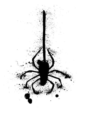Black spider and torn web. Scary spiderweb of halloween symbol. Grunge ink hand-drawn isolated on white vector illustration