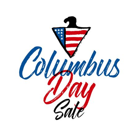 Vector illustration: Handwritten Calligraphic brush type Lettering composition of Happy Columbus Day on white background.