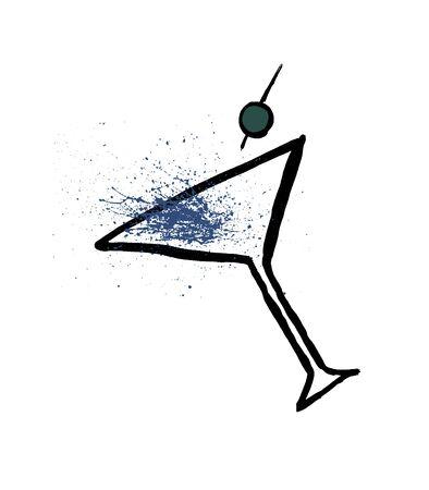Hand-drawn doodle grunge cosmopolitan alcohol cocktail illustration with watercolor splashes, vector image Illusztráció