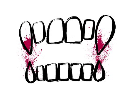 Icono de dientes de vampiro aislado sobre fondo blanco. Vector rojo salpicaduras de sangre dibujadas a mano. Ilustración de grunge de miedo de mordedura. Doodle símbolo de dibujo de halloween.