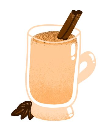 Homemade traditional Christmas eggnog drink with ground nutmeg and cinnamon in the glass isolated on white background vector hand-drawn doodle illustration. Ilustração