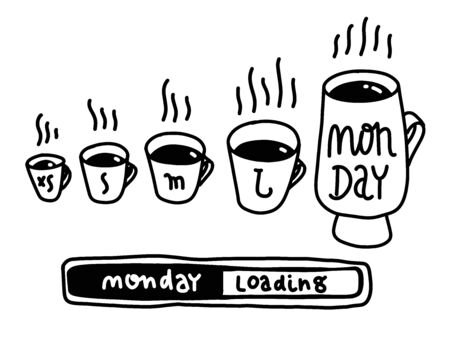 Small Medium Large Monday Funny Concept (Hand Drawn Coffee Cups Vector Illustration Poster Design). Morning with coffee, vector art for banner, poster, card. Loading monday lettering