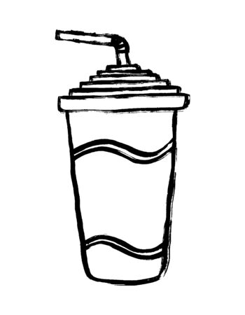 Paper cup of soda line icon. Soda drink vector outline sign. Coke - flat vector beverage cup with drinking straw. Doodle grunge hand-drawn style for you logo.