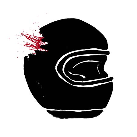 Broken biker helmet doodle icon. Motorcycle accident concept. Grunge hand-drawn illustration of helmet with red blood. Fatal accident with a car vector design. Иллюстрация