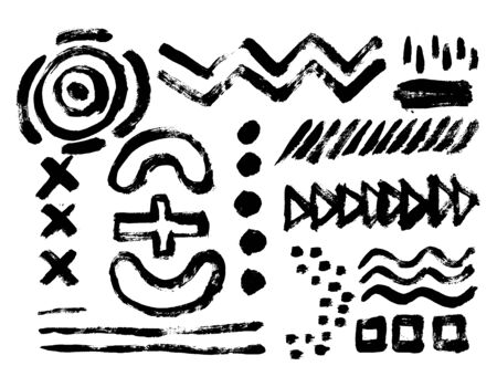 Vector set of black brush strokes. Editable isolated elements. Grunge brushes for your design. Freehand. Watercolor splash. Acrylic stamp. Monochrome geometric simple drawing.