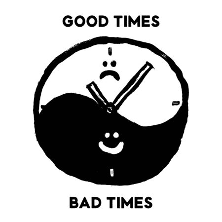 Doodle grunge hand-drawn clocks with typography sign Good Times, Bad times. Choice conceptual image. Hand Crafted Vintage Original T Shirt Graphic Design.