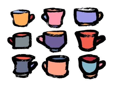 Tea and coffee cup set icon, logo isolated on white background. Doodle hand-drawn icons for menu. Grunge illustration for restaurant. Illustration