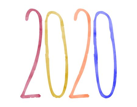 New Year 's date 2020. Number on white background. Watercolor numbers, painted image. New Year 's two thousand twentieth
