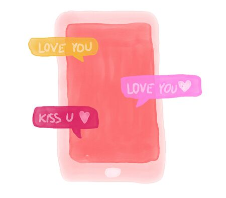 Love texting, online dating watercolor illustration. People texting love messages to each other. Watercolor hand-drawn style. Stock Photo