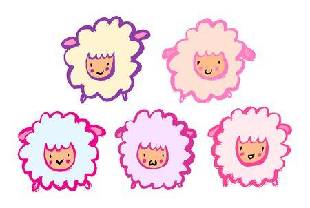 Cute cartoon sheep set. Grunge hand-drawn style. Cartoon funny characters.