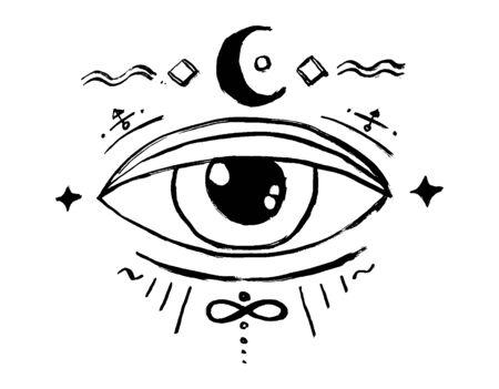 Blackwork tattoo flash. Eye of Providence. Masonic symbol. All seeing eye. New World Order. Sacred geometry, religion, spirituality, occultism. Isolated vector illustration Illustration