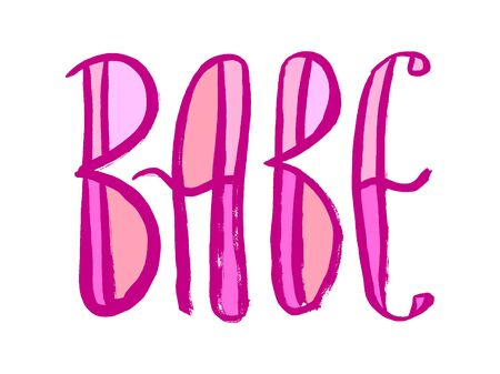 Pink babe hand lettering sign. Grunge hand-drawn style. 矢量图像