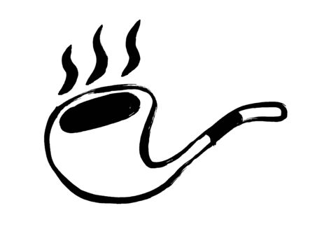 Grunge tobacco pipe icon. Hand drawing doodle smoking pipe illustration. Cartoon drawing.