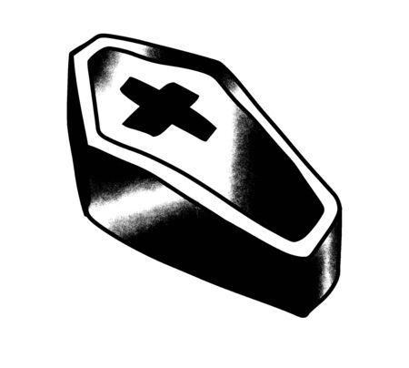 Coffin with a cross vintage tattoo. Doodle cartoon style. Black and white design. Illustration