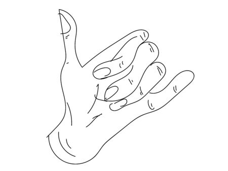 Vector surfer's hand sign isolated on white background. Shaka hand vector sign.