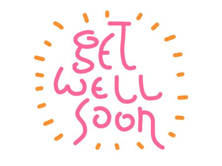 Get well soon vector text. Hand Lettering for invitation and greeting card, prints and posters. Modern calligraphic hipster design