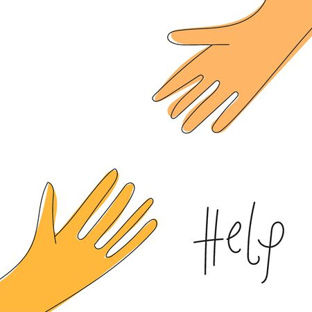 Helping hand concept. Gesture, sign of help and hope. Two hands reaching to each other. Isolated doodle cartoon line illustration on white background with sign Help.Child and mother.Close up body part