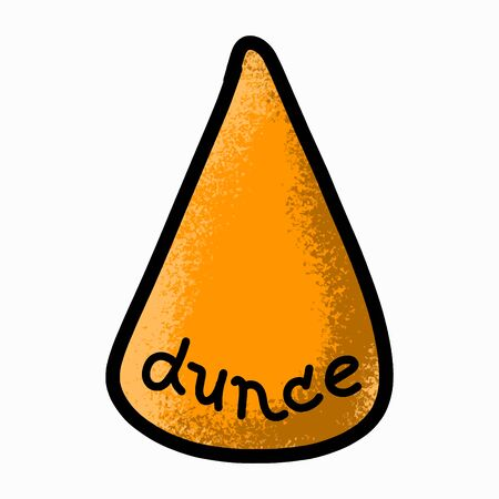 Dunce hat. Doodle icon. Cartoon hand-drawn style. Isolated on white.
