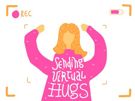 Sending virtual hug corona virus crisis banner. Defeat covid 19 stay home infographic. Social media love banner. Online pandemic support message. Motivational get through together concept sticker Ilustrace
