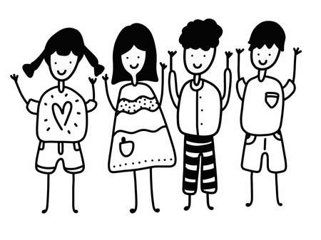 Four happy children cartoon, black and white outline. Cartoon doodle characters. Group of sketch hand-drawn kids. Children with rise-up hands. Illusztráció