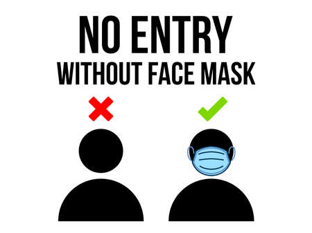 No Entry Without Face Mask or Wear a Mask Icon. Vector front door plate. Warning sign without a face mask no entry and keep distance.