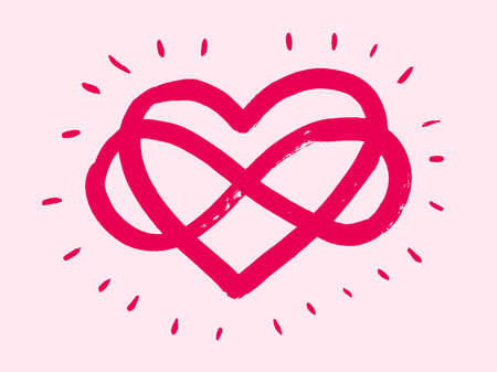 Love heart In the sign of infinity. Sign on postcard to Valentines day, wedding print. Vector calligraphy and lettering illustration isolated on a white background.