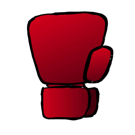 Cartoon red boxing glove icon, front view. Isolated doodle vector illustration. Grunge template for print, t-shirt, flyer, poster or art works. 矢量图像
