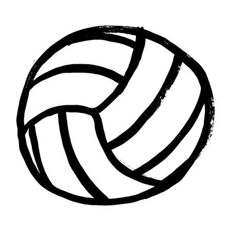 Volleyball ball sports activity play competition tournament, doodle hand drawn vector illustration. Grunge ink drawing on white background. Ilustración de vector