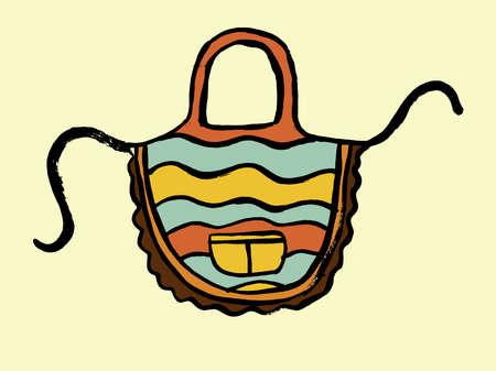 Vector doodle kitchen apron. Cooking, kitchen utensils, home elements. Hand doodle vintage illustration isolated on white background. Ilustração Vetorial