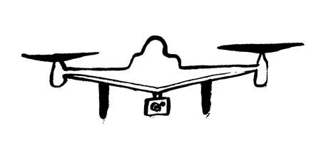 Drone icon in doodle hand-drawn style isolated on background. Drone icon grunge page symbol for your website design