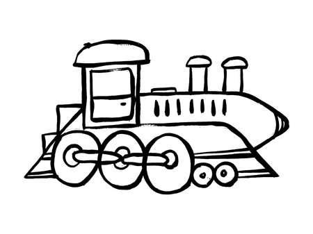Vector Hand Drawn Doodle Cute Train Steam Locomotive, Toys Kids, Cartoon Illustration. Doodle grunge drawing. Coloring for children.