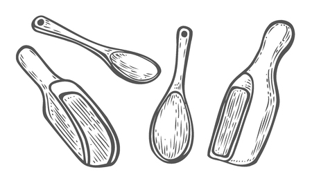 Set of Wooden spoon scoop, ladle. Vintage black vector engraving illustration for label, web, flayer bakery shop. Isolated on white background. Иллюстрация