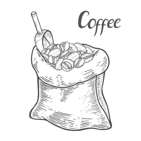 Hand drawn Sack with coffee beans with metallic scoop. Hand drawn sketch style. Vintage vector engraving illustration for label, web. Isolated on white background Vettoriali