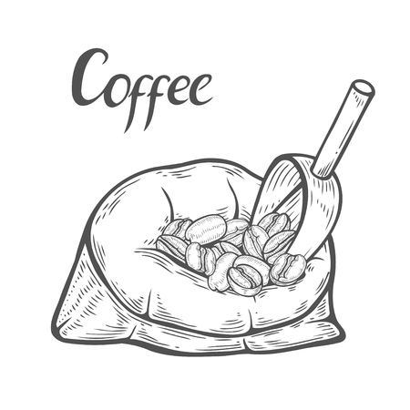 Hand drawn sack of coffee beans with metallic scoop.