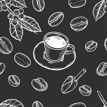 Seamless background of organic coffee beans