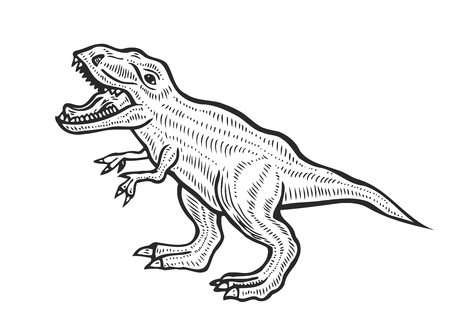 Hand-drawn carnivorous dinosaur. Angry tyrannosaurus rex with open huge mouth, sketch. Animal vector illustration Illustration